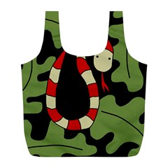 Red cartoon snake Full Print Recycle Bags (L)