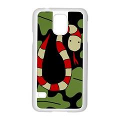 Red cartoon snake Samsung Galaxy S5 Case (White)