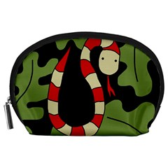 Red cartoon snake Accessory Pouches (Large)
