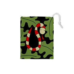 Red cartoon snake Drawstring Pouches (Small)