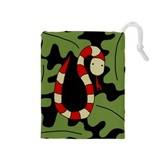 Red cartoon snake Drawstring Pouches (Medium)