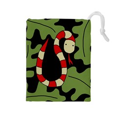 Red cartoon snake Drawstring Pouches (Large)