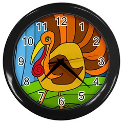Thanksgiving turkey  Wall Clocks (Black)