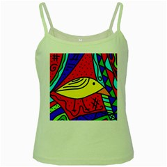 Yellow bird Green Spaghetti Tank