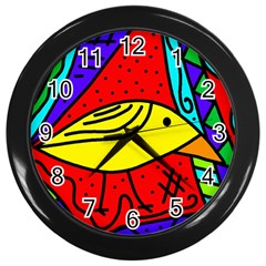 Yellow bird Wall Clocks (Black)
