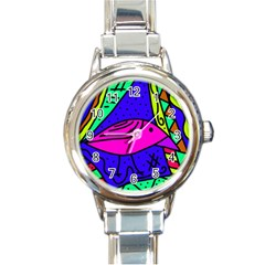 Pink bird Round Italian Charm Watch