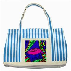 Pink bird Striped Blue Tote Bag