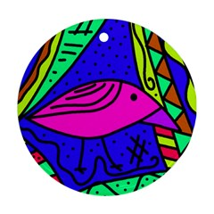 Pink bird Round Ornament (Two Sides)