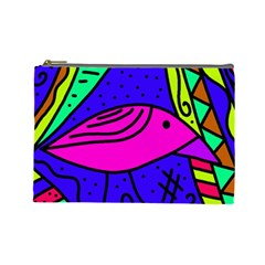 Pink bird Cosmetic Bag (Large)