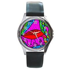 Red bird Round Metal Watch