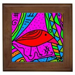 Red bird Framed Tiles