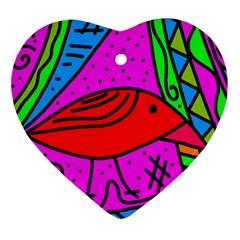 Red bird Ornament (Heart)