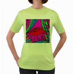 Red bird Women s Green T-Shirt