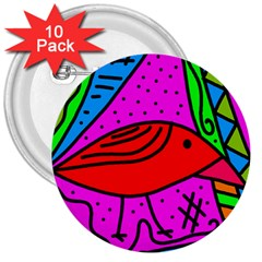 Red bird 3  Buttons (10 pack)
