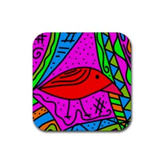 Red bird Rubber Coaster (Square)