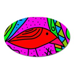 Red bird Oval Magnet