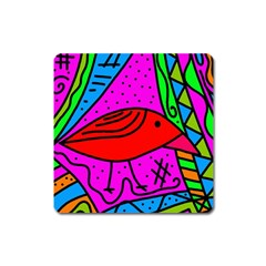 Red Bird Square Magnet