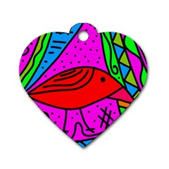 Red bird Dog Tag Heart (One Side)