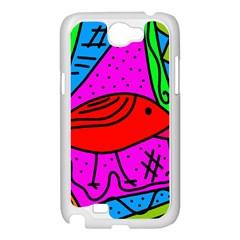 Red bird Samsung Galaxy Note 2 Case (White)