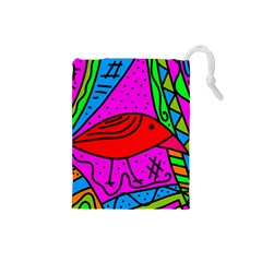 Red bird Drawstring Pouches (Small)