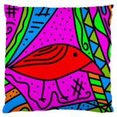 Red bird Large Flano Cushion Case (Two Sides)