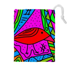 Red bird Drawstring Pouches (Extra Large)