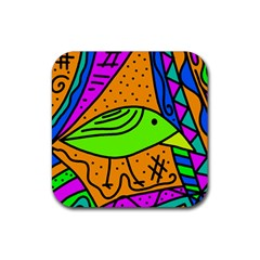 Green bird Rubber Square Coaster (4 pack)