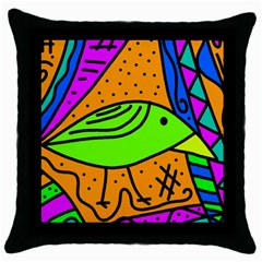 Green bird Throw Pillow Case (Black)