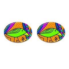 Green bird Cufflinks (Oval)