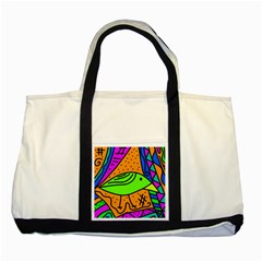 Green bird Two Tone Tote Bag