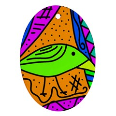 Green bird Oval Ornament (Two Sides)