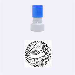 Green bird Rubber Round Stamps (Small)