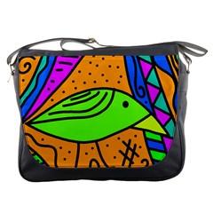 Green bird Messenger Bags