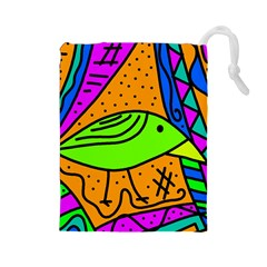 Green bird Drawstring Pouches (Large)