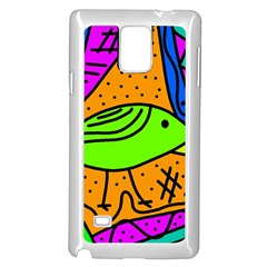 Green bird Samsung Galaxy Note 4 Case (White)