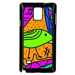 Green bird Samsung Galaxy Note 4 Case (Black)