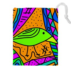 Green Bird Drawstring Pouches (xxl)