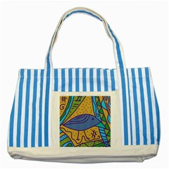 Blue bird Striped Blue Tote Bag