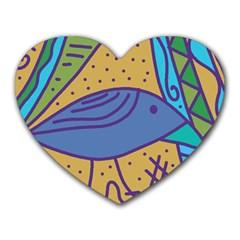 Blue bird Heart Mousepads