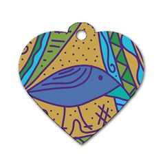 Blue bird Dog Tag Heart (Two Sides)