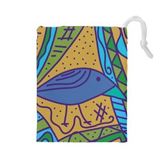 Blue bird Drawstring Pouches (Large)
