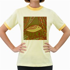 Brown bird Women s Fitted Ringer T-Shirts