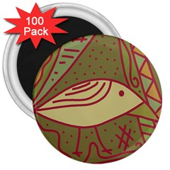 Brown bird 3  Magnets (100 pack)