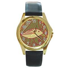 Brown bird Round Gold Metal Watch