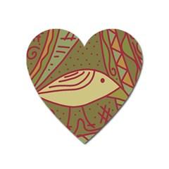 Brown bird Heart Magnet
