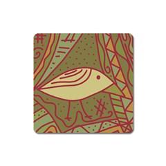 Brown bird Square Magnet