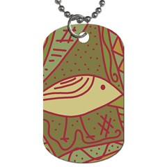 Brown bird Dog Tag (Two Sides)