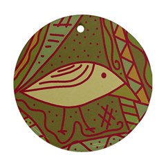 Brown bird Round Ornament (Two Sides)