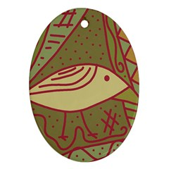 Brown bird Oval Ornament (Two Sides)