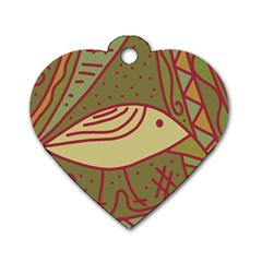 Brown bird Dog Tag Heart (Two Sides)